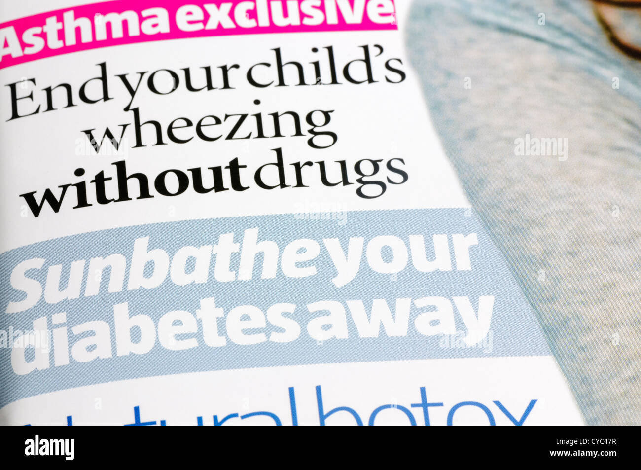 Cure diabetes by sunbathing, and cure asthma without drugs in 'What Doctors Wont Tell You', a controversial - Stock Image