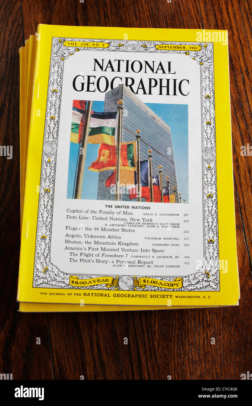National Geographic magazine cover from September 1961 including a cover article on the United Nations.  Editorial - Stock Image