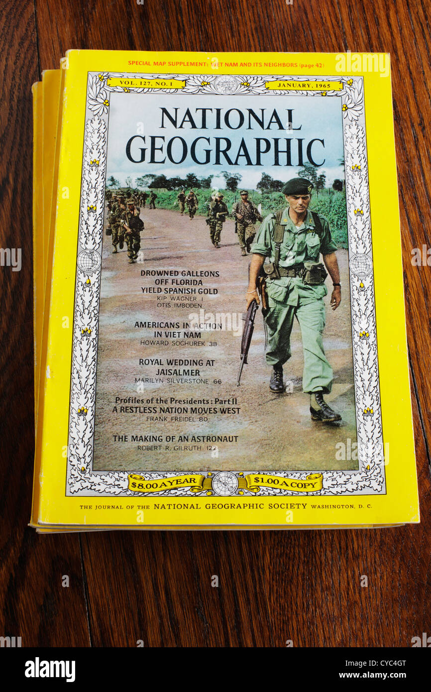 National Geographic magazine cover from January 1965 including cover article on Americans in Vietnam.  Editorial - Stock Image