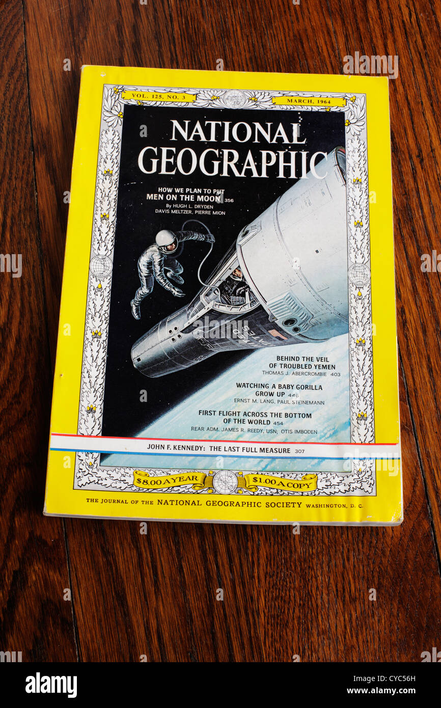 National Geographic magazine cover from March 1964 including cover article on How We Plan to Put Men on the Moon. - Stock Image