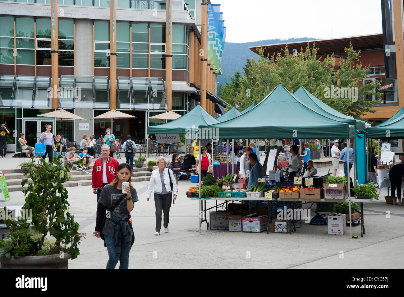Public farmer's market in a square in the suburbs selling local produce and other crafts, North Vancouver, BC, - Stock Image