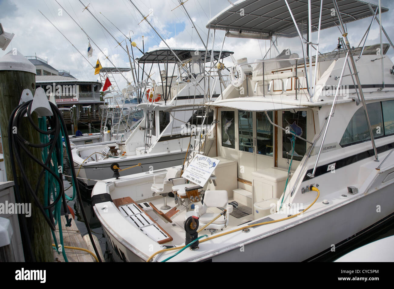 charter fishing boats in the old seaport of key west florida usa - Stock Image