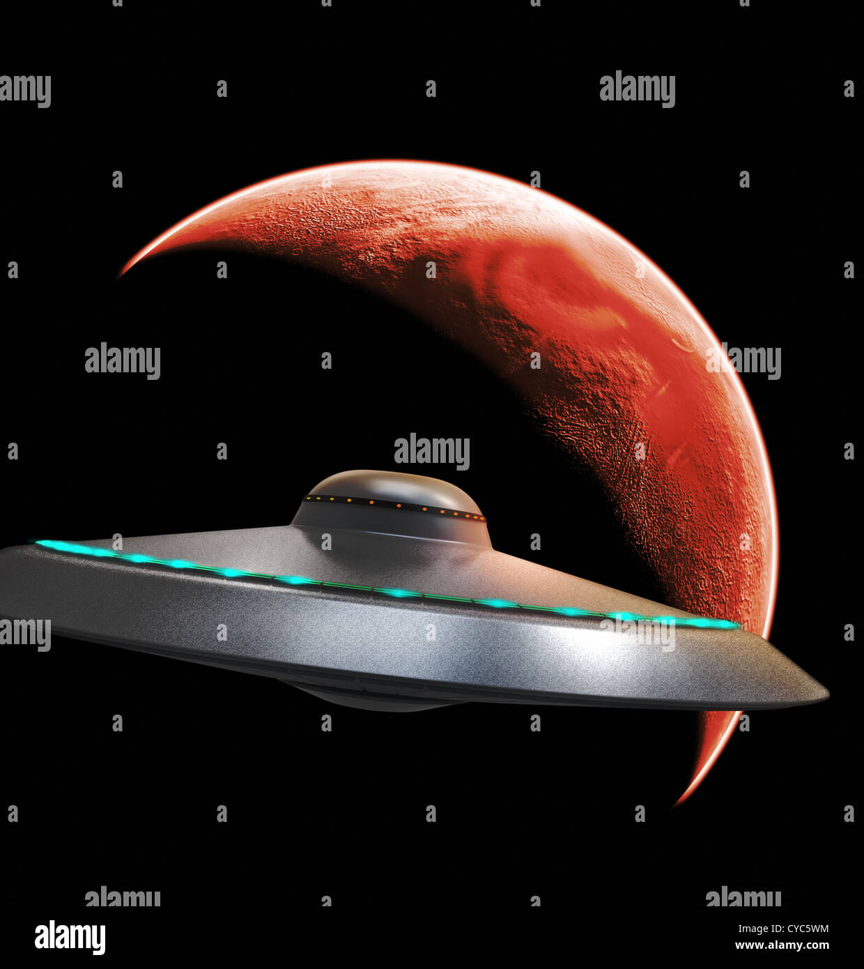 UFO flying to red planet - Stock Image