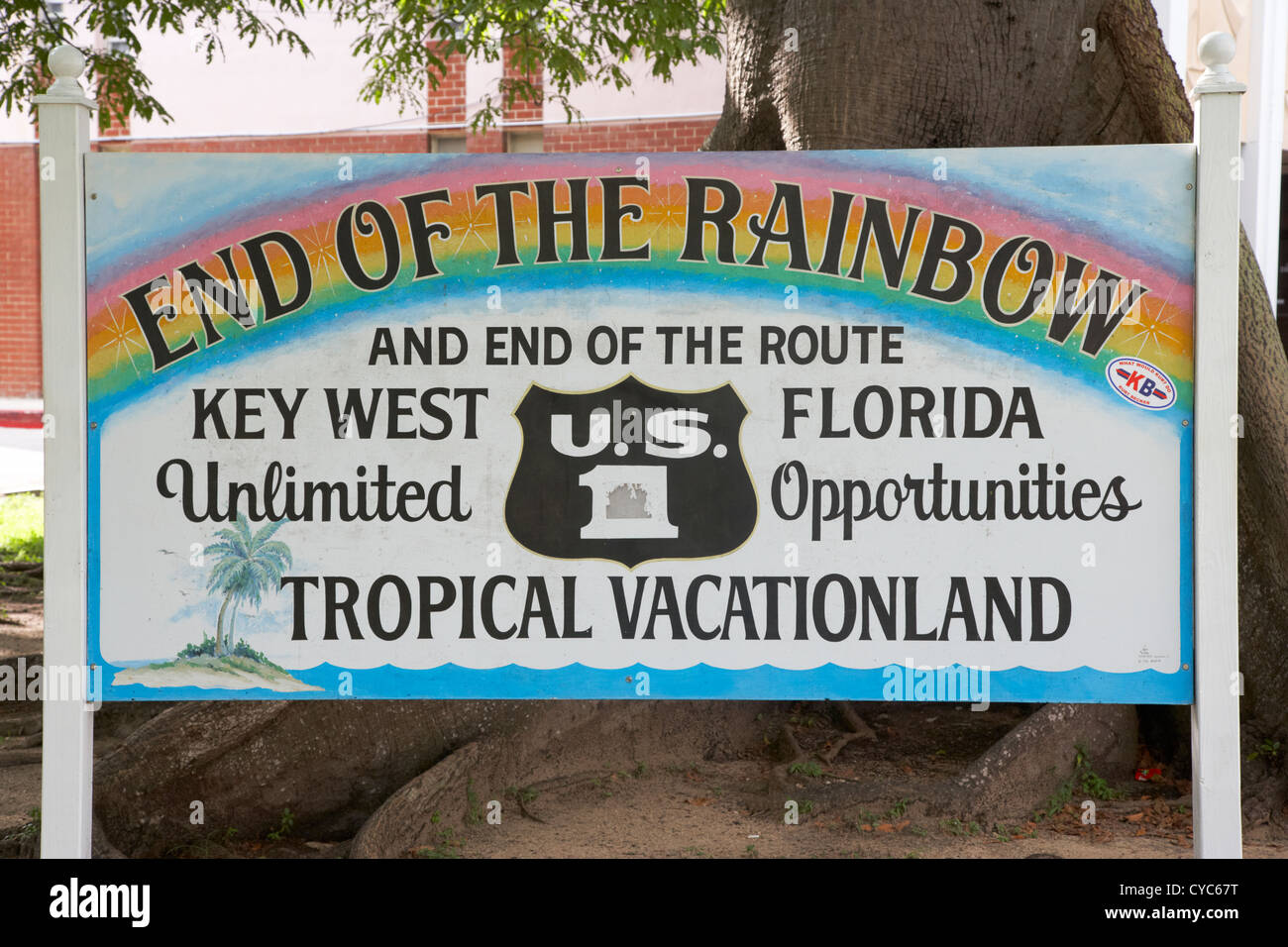 end of the rainbow sign us route 1 key west florida usa - Stock Image