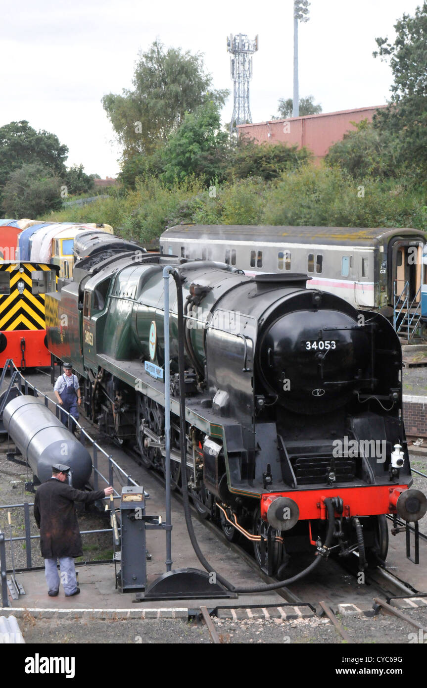 Sir Keith Park 34053 being turned on the turntable at Kidderminster on the Severn Valley Railway. - Stock Image