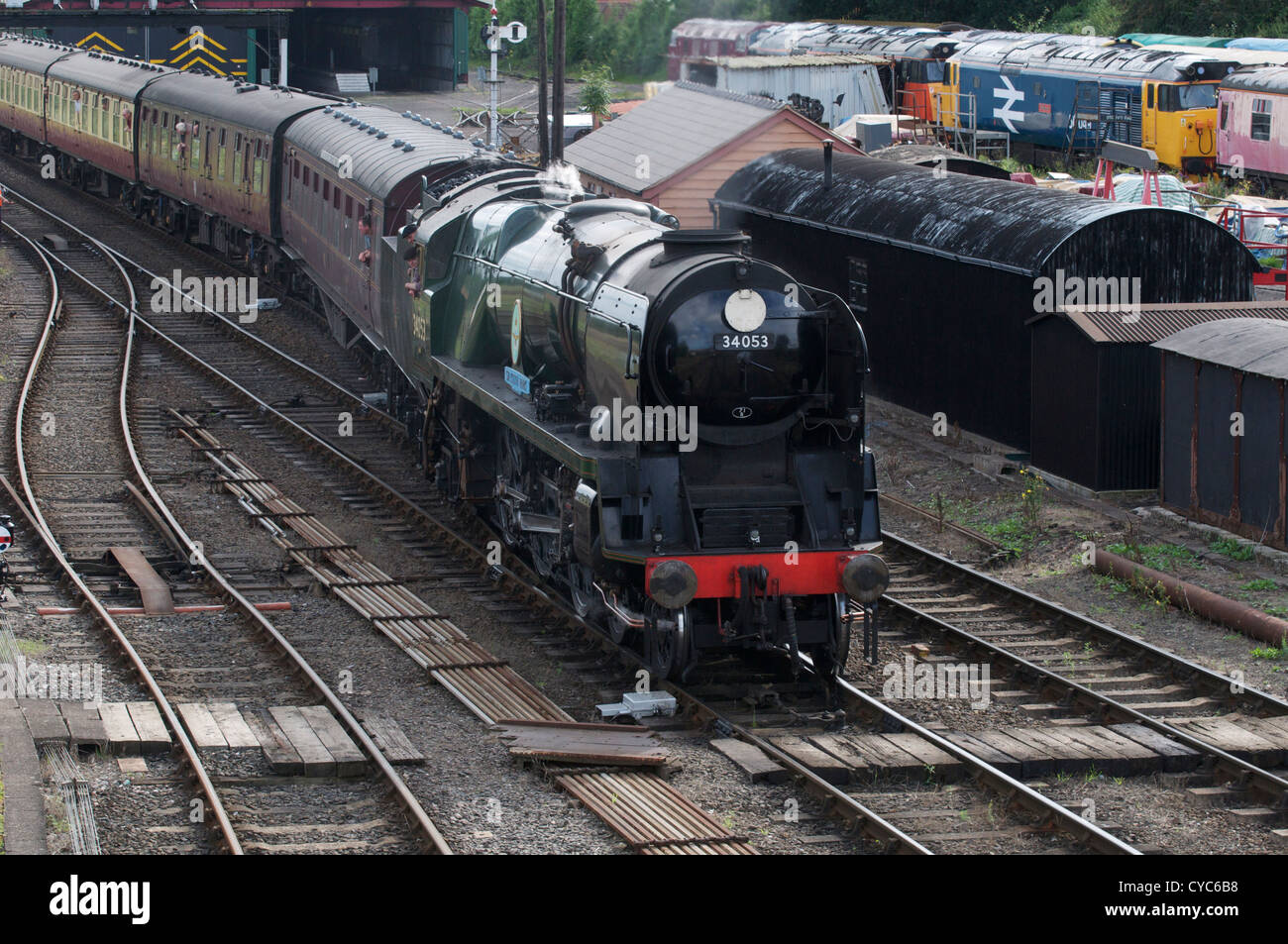 Sir Keith Park 34053 entering into Kidderminster Station on the Severn Valley railway. - Stock Image