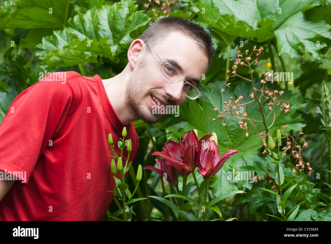 Man in a garden bending over to smell lily and looking at camera - Stock Image