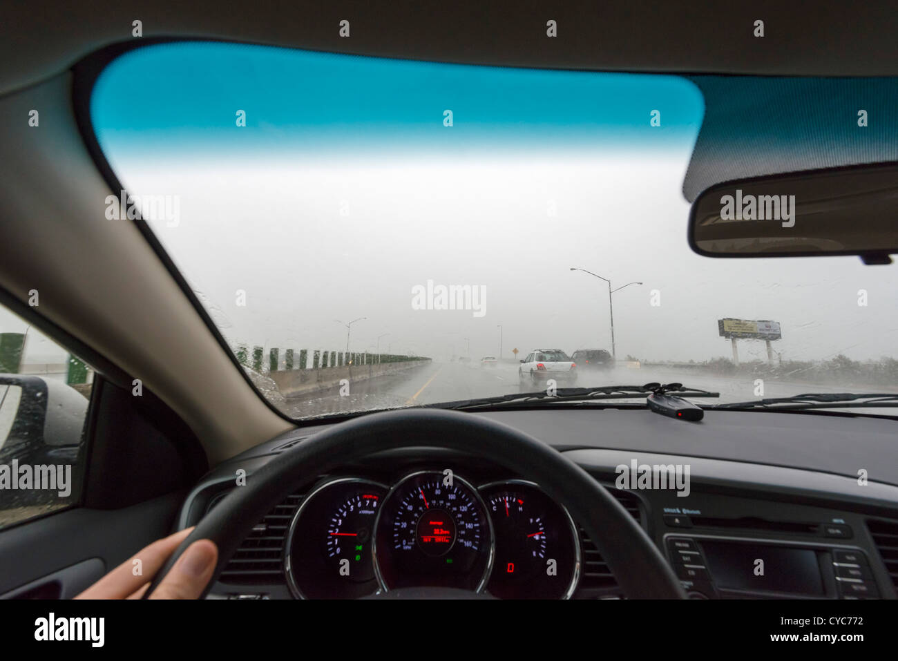 Driving on an interstate in torrential rain, Washington, USA - Stock Image