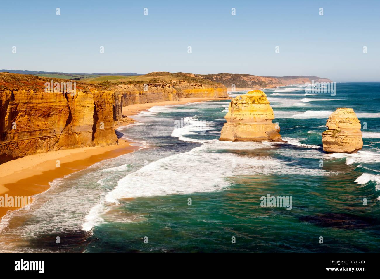 Twelve Apostles, famous landmark along the Great Ocean Road, Australia - Stock Image