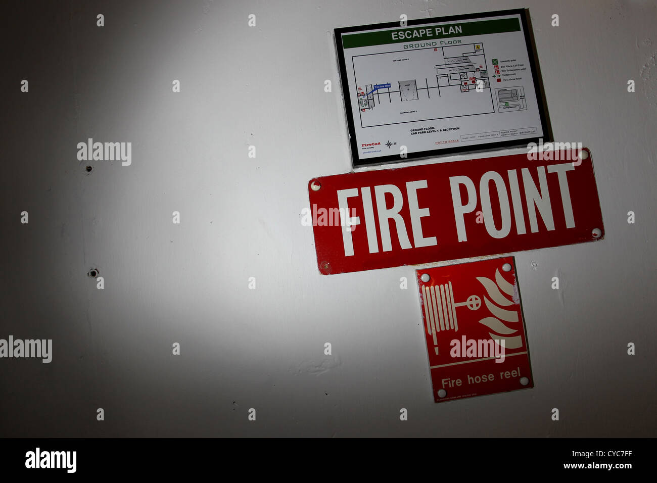 Fire Point sign on the wall of a building in Brighton, East Sussex, UK. - Stock Image