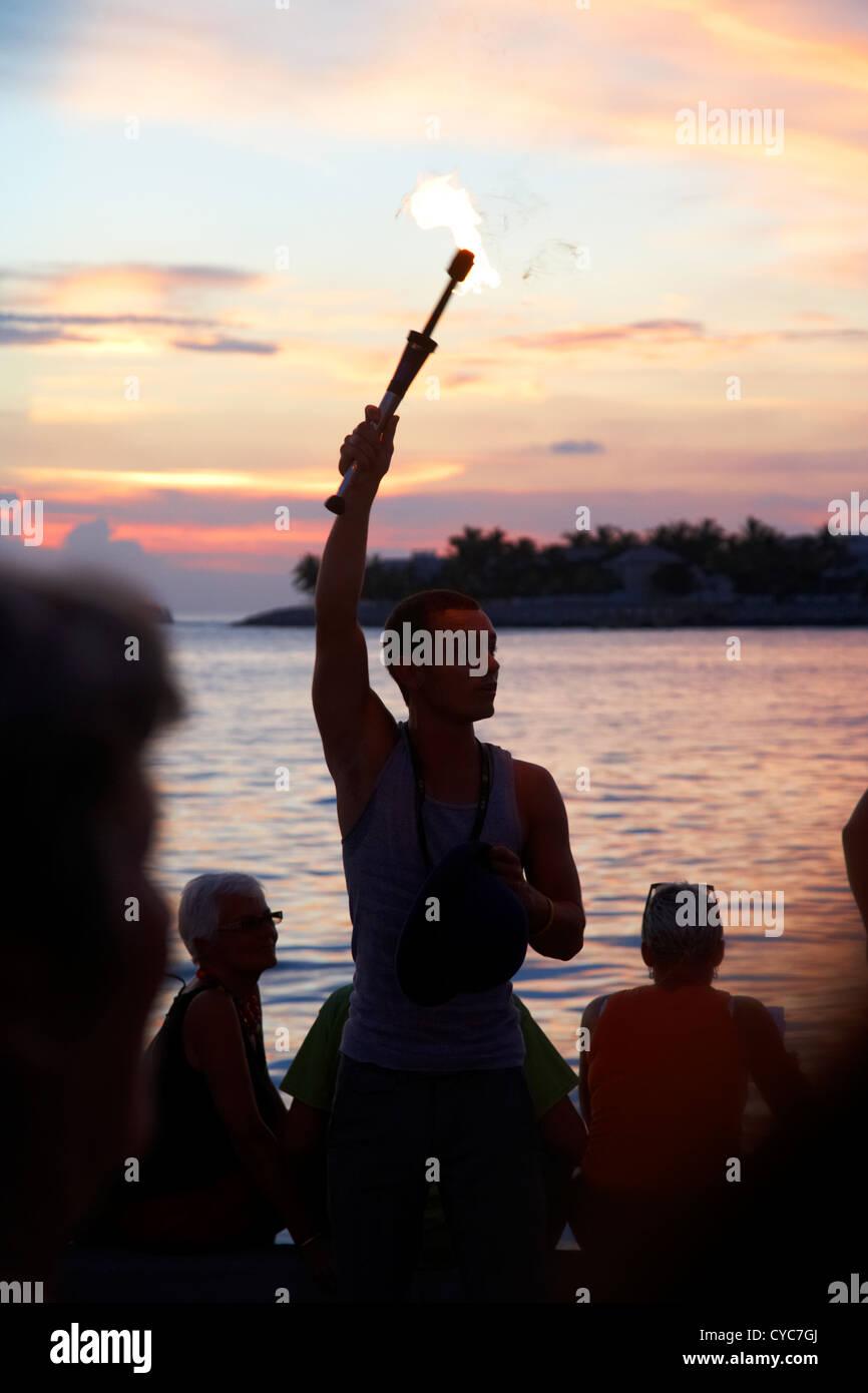 evening sunset celebrations mallory square key west florida usa - Stock Image