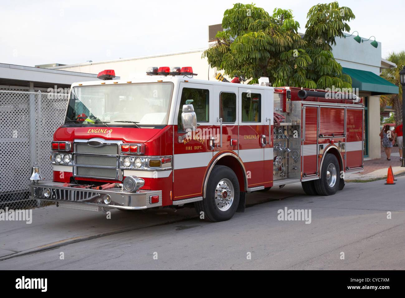 key west fire dept engine vehicle florida usa - Stock Image