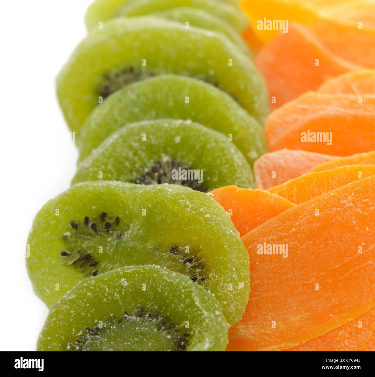Dried Kiwi And Mango Fruits,Close Up - Stock Image