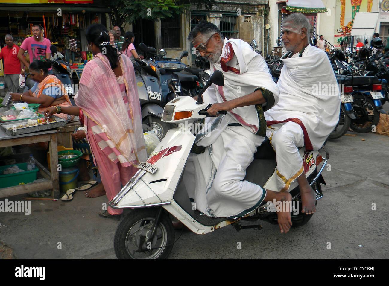 India, Tamil Nadu, Chennai, motorbike - Stock Image