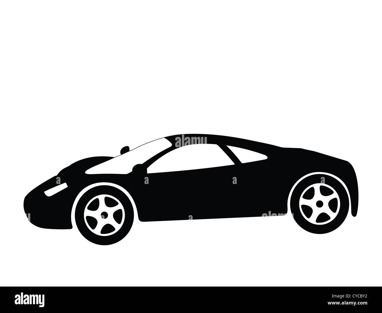 Black Silhouette On A Sport Car Vector Illustration Stock Photo
