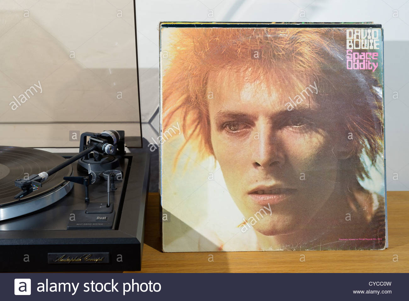 Record player and David Bowie album Space Oddity, England - Stock Image