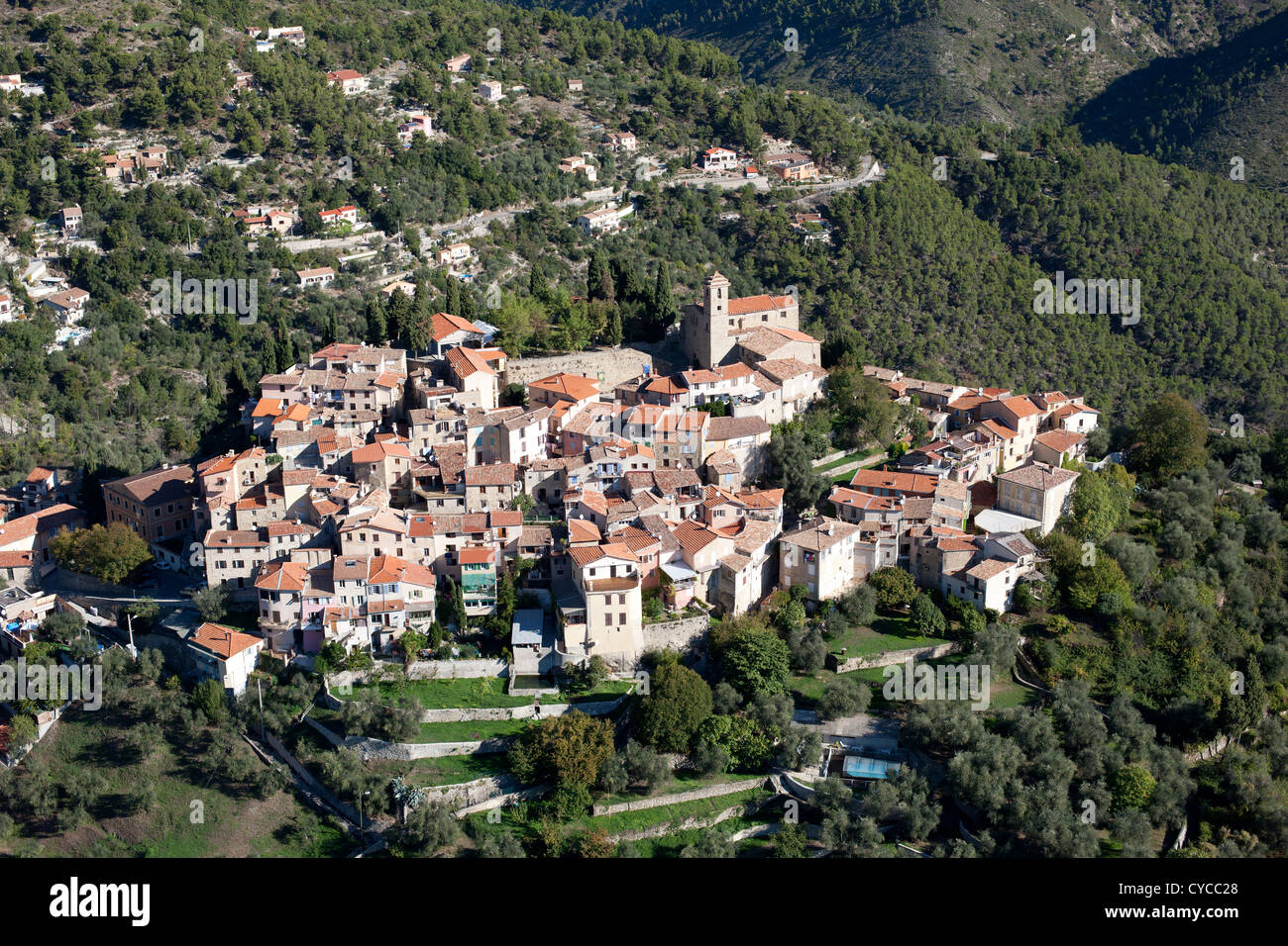 PERCHED MEDIEVAL VILLAGE (aerial view). Village of Coaraze on the French Riviera's backcountry. - Stock Image