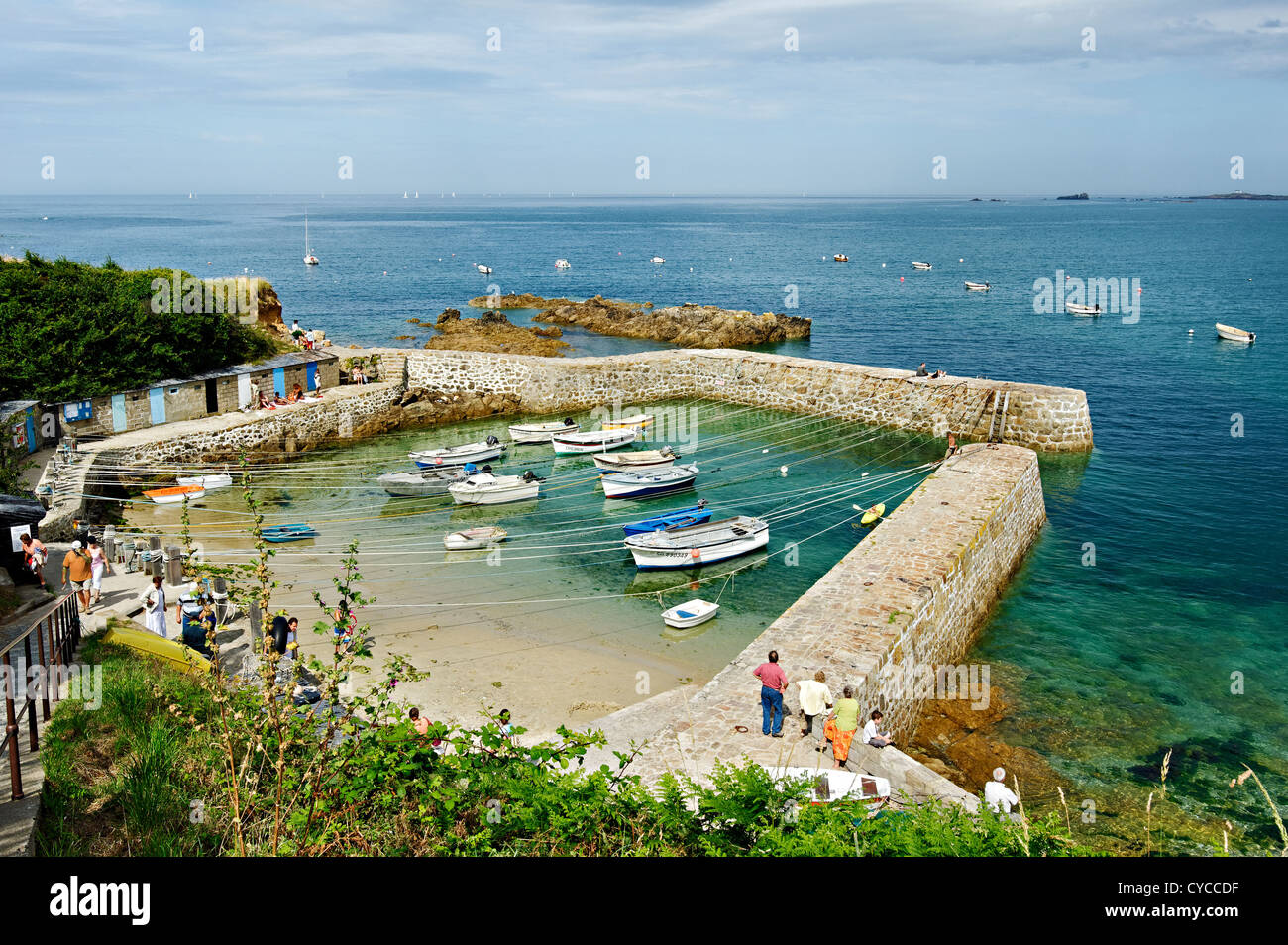 Port Racine, the smallest harbour in France, Normandy, France. - Stock Image