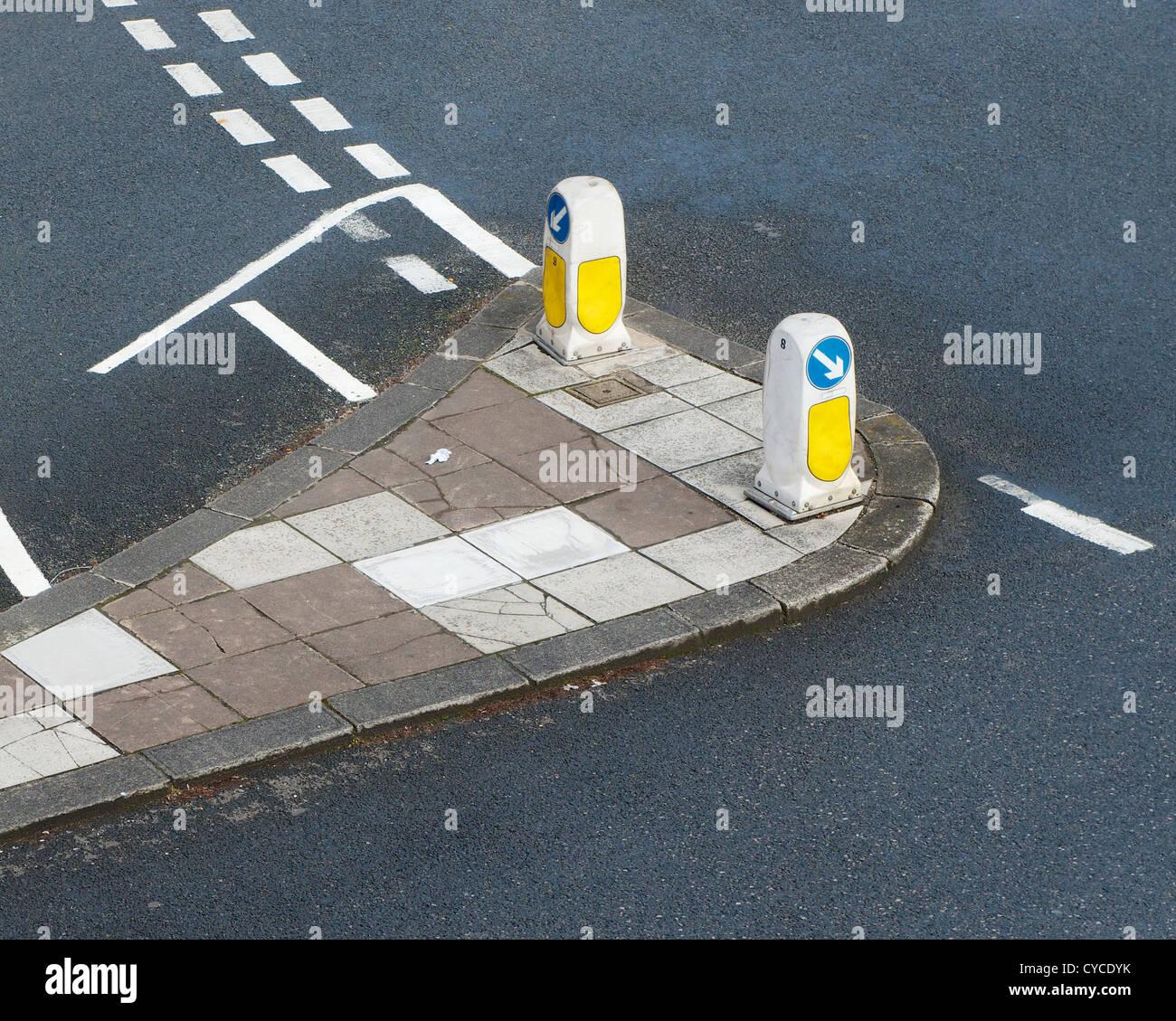 Road Junction, Traffic Island - Stock Image