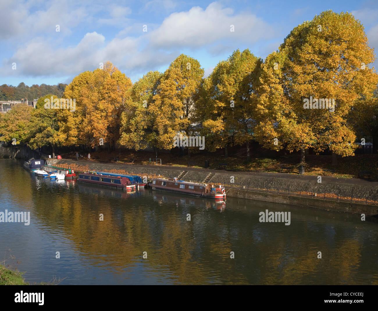 Narrow boats River Avon, Bath, Somerset, England - Stock Image