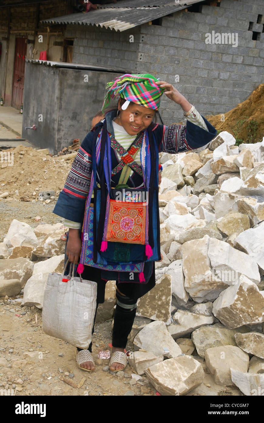 Vietnam, Sapa Market, Black Hmong woman in traditional dress - Stock Image
