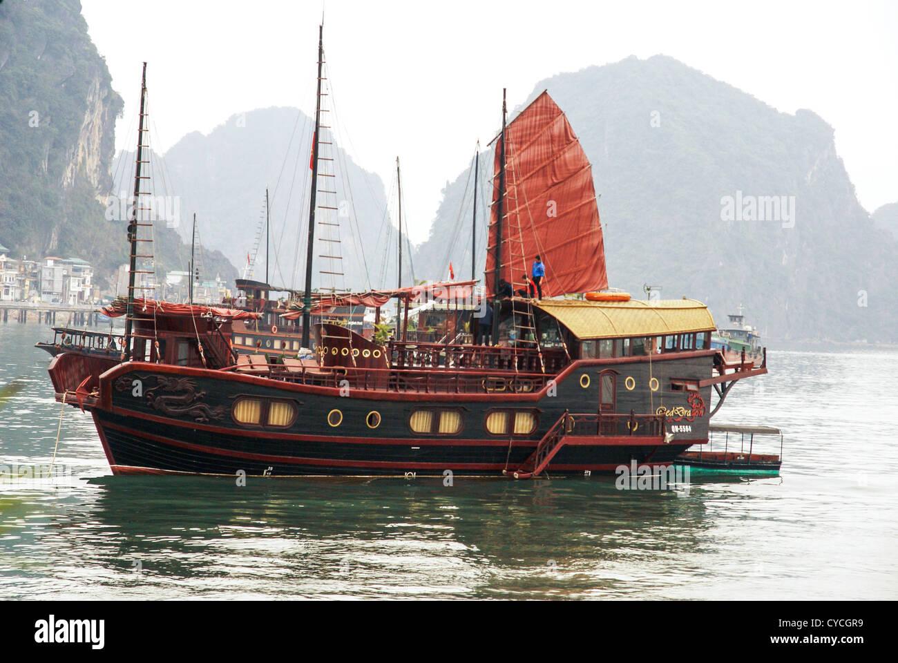 Vietnam, Halong Bay, Traditional Junk Stock Photo