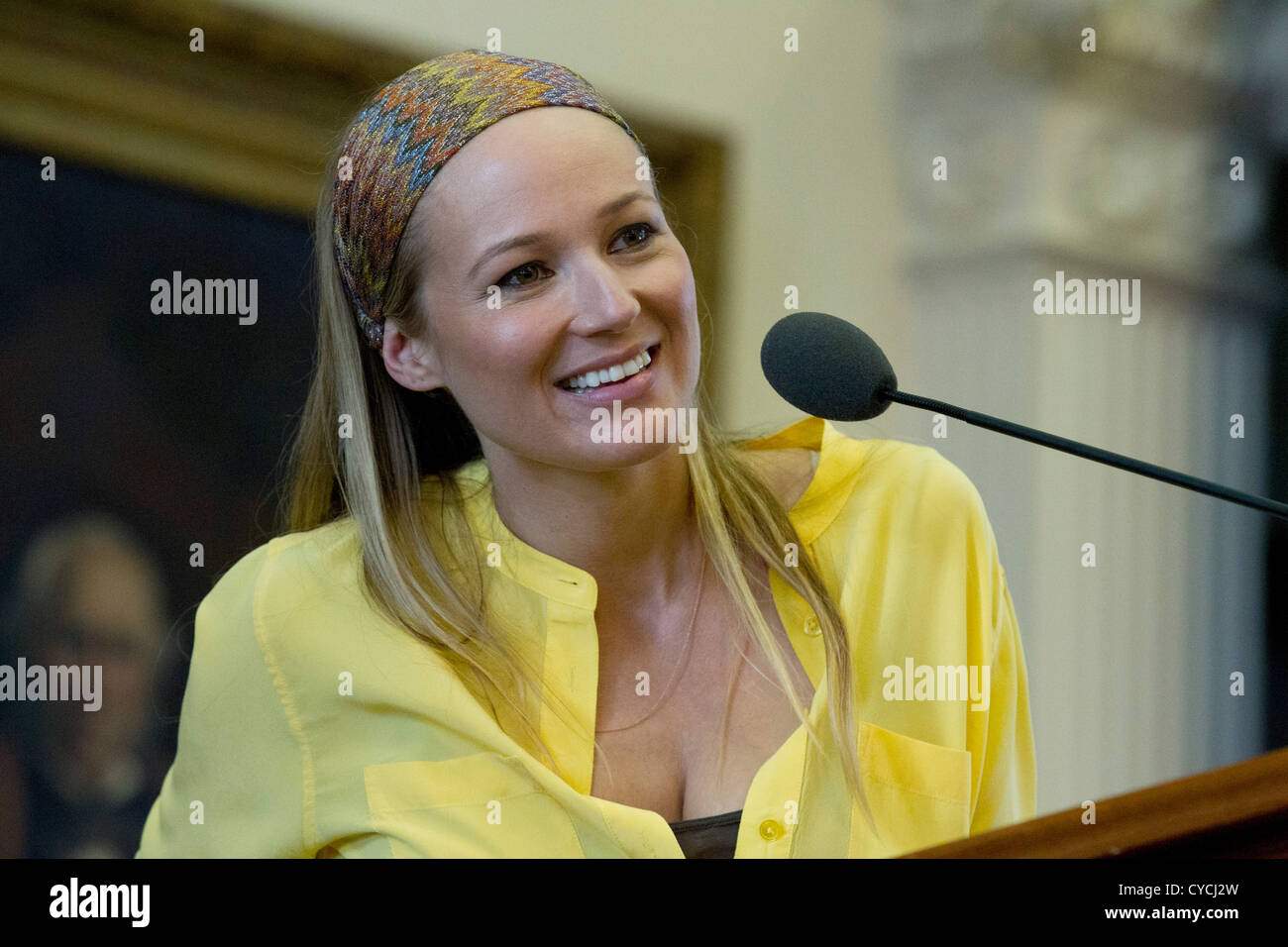 Singer and author Jewel speaks at the Texas Book Festival in Austin. - Stock Image