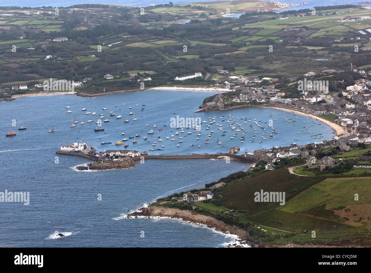 Boats in the harbour at Hugh Town, St Mary's, Isles of Scilly - Stock Image