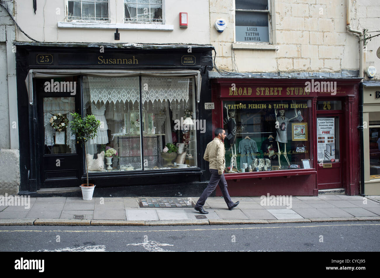 Local Shop Fronts Broad Street Bradford on Avon - Stock Image