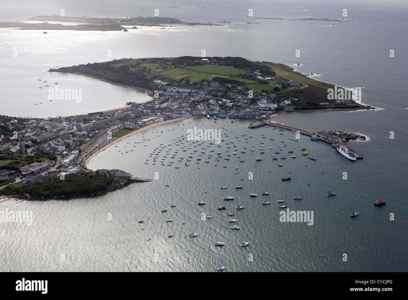 Aerial view of the harbour at Hugh Town, St Mary's, Isles of Scilly - Stock Image