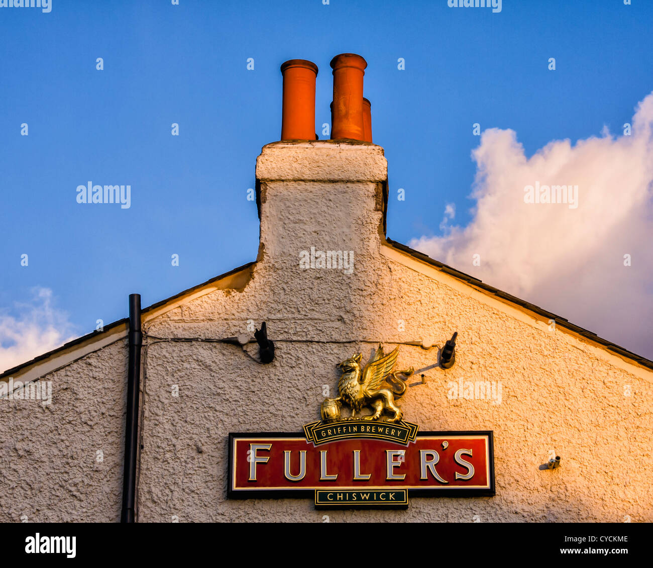 Fuller's Brewers sign on the Prince Blucher pub in Twickenham - Stock Image