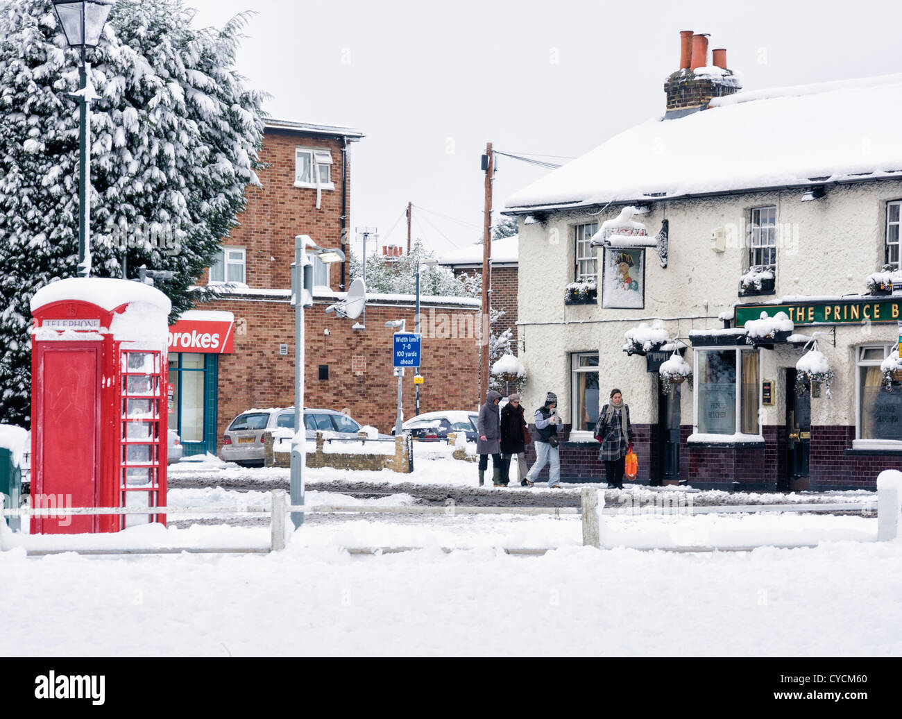 The Prince Blucher Pub after a heavy snowfall - Twickenham, England - Stock Image