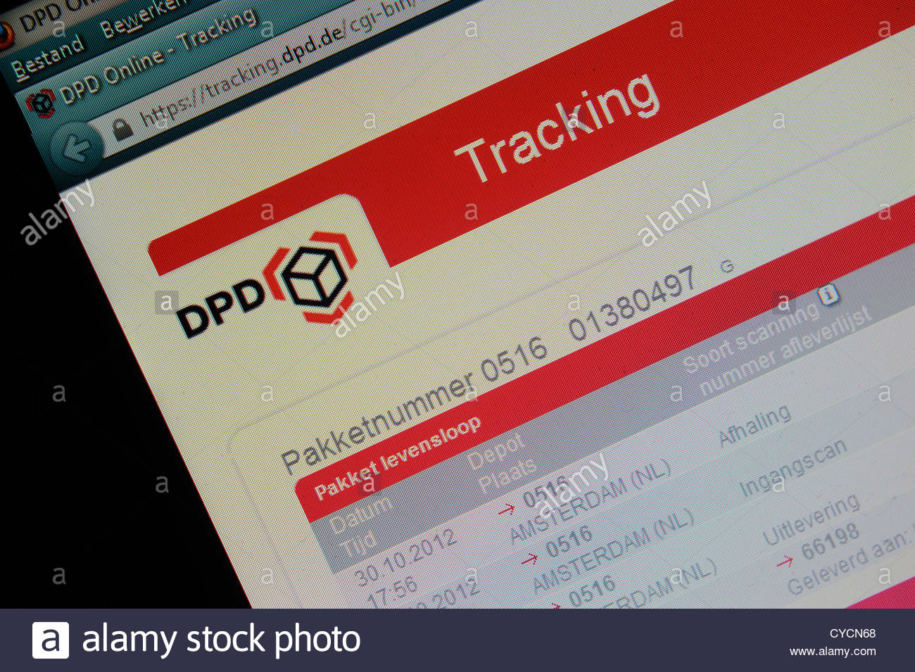 DPD parcel tracking website allowing customers the opportunity to trace the route of their packages to their door. - Stock Image