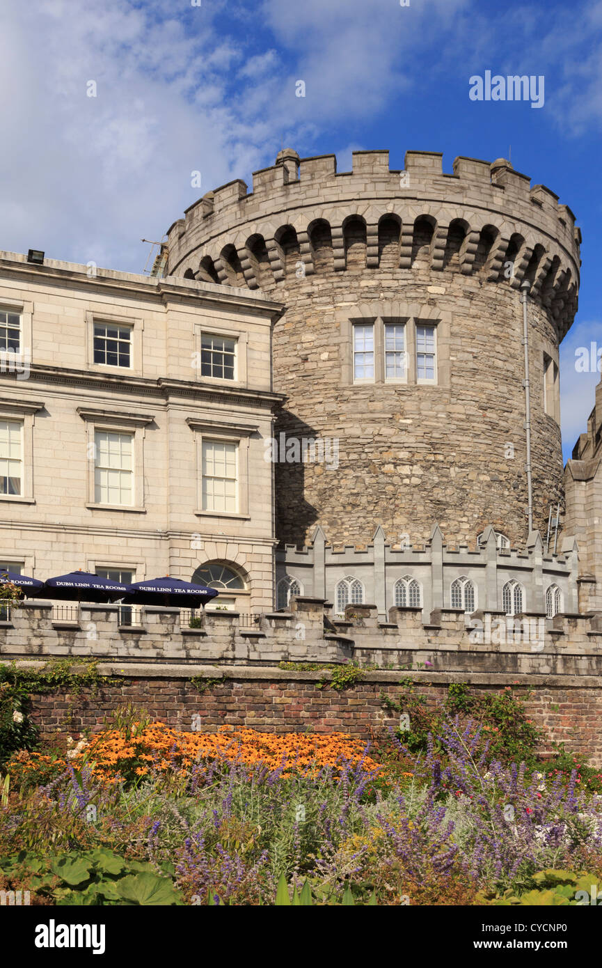 13th century Record Tower is only remaining part of original medieval Norman castle, now Garda museum in Dublin - Stock Image
