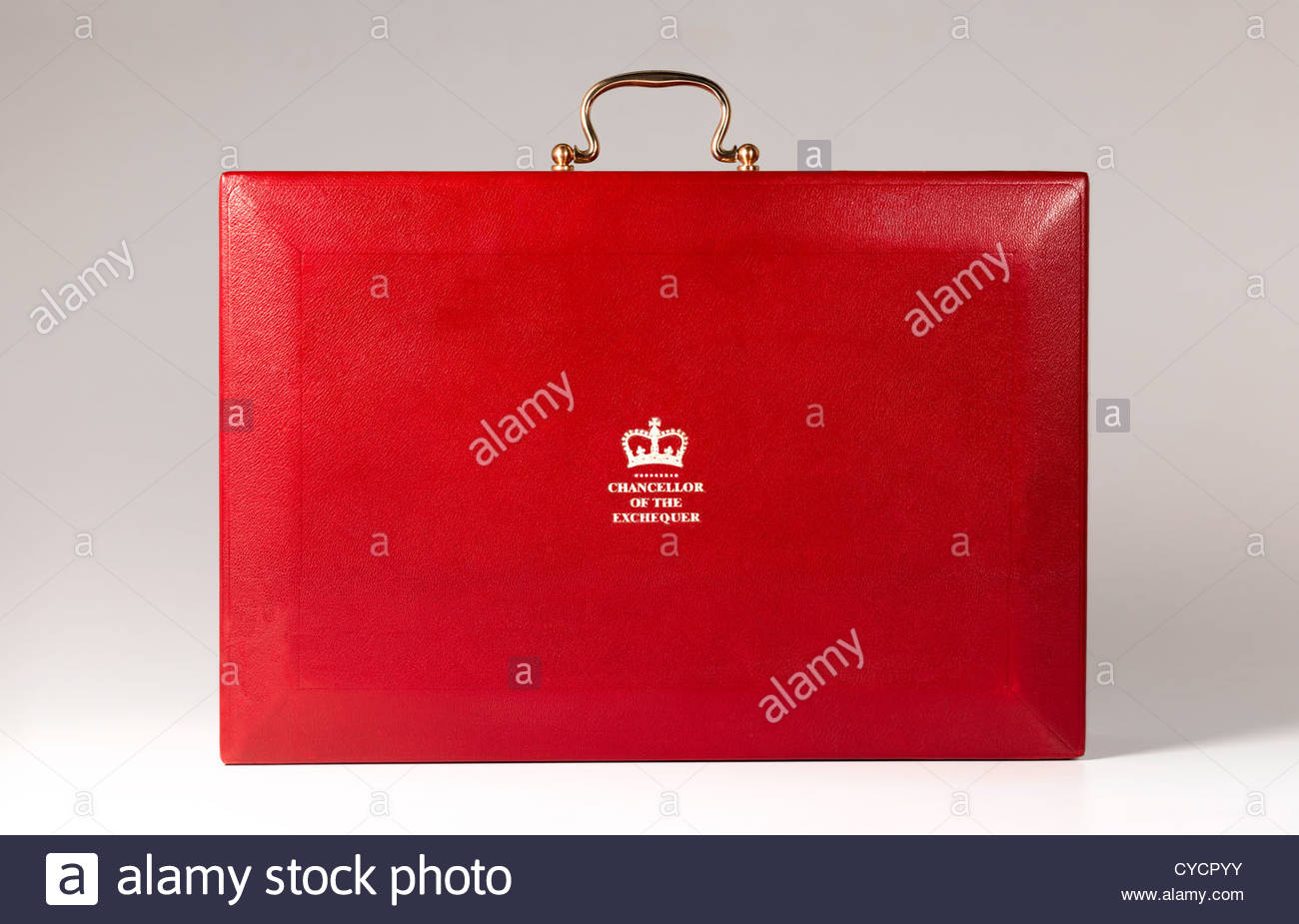 Chancellor of the Exchequer's budget in red box, ministerial case to present top secret annual budget plan to - Stock Image