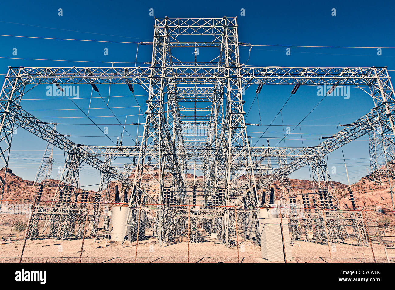 Electricity Pylon in Hoover Dam, Nevada, USA - Stock Image