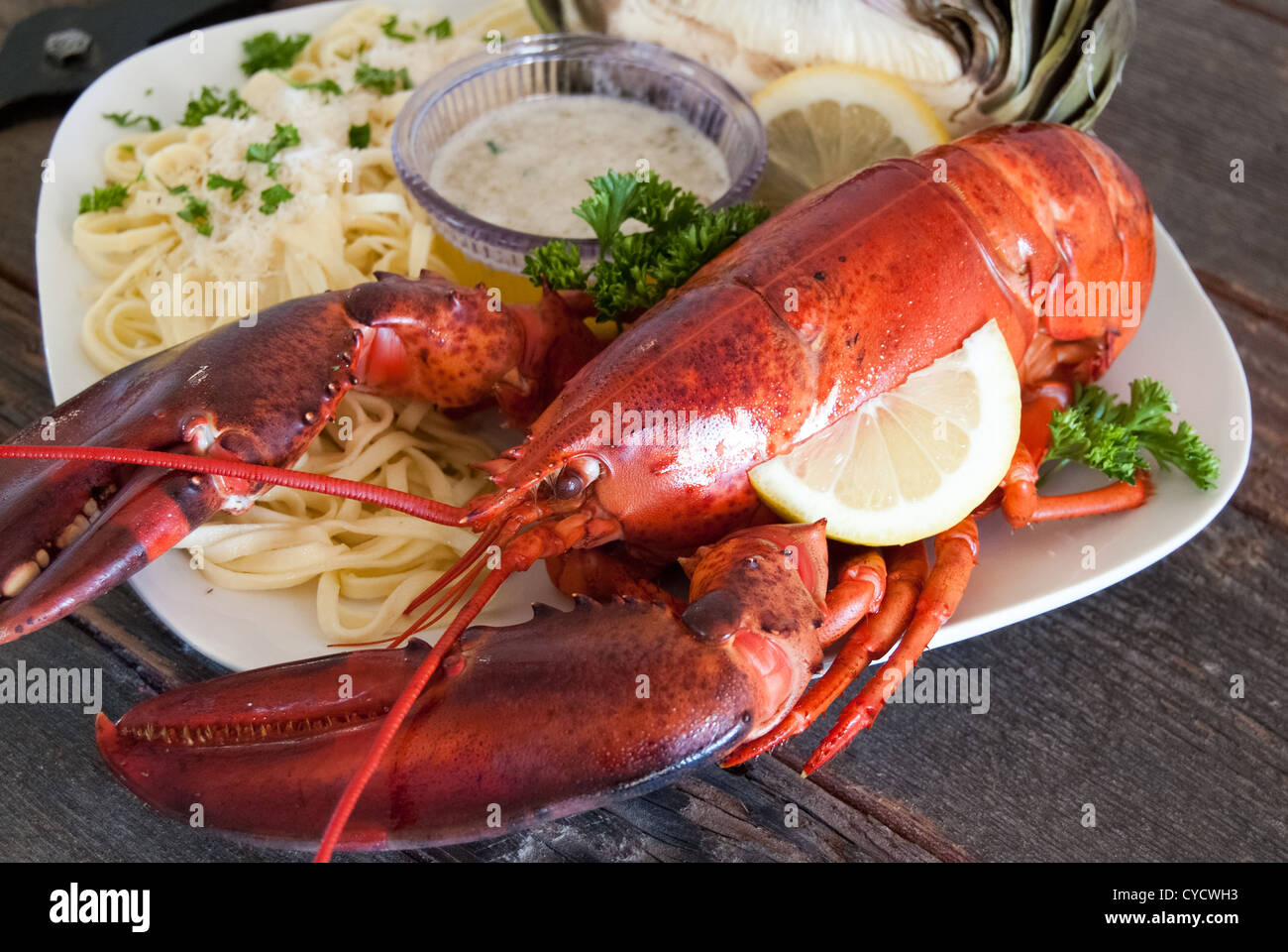 A Cooked Maine Lobster Dinner Stock Photo 51299951 Alamy