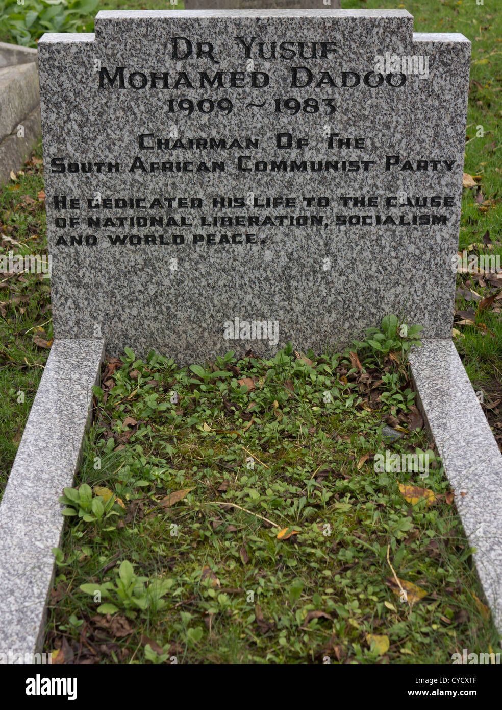 Tomb of Dr. Yusuf Nohamed Dadoo, the late Chairman of the South African Communist Party at Highgate Cemetery, London, - Stock Image