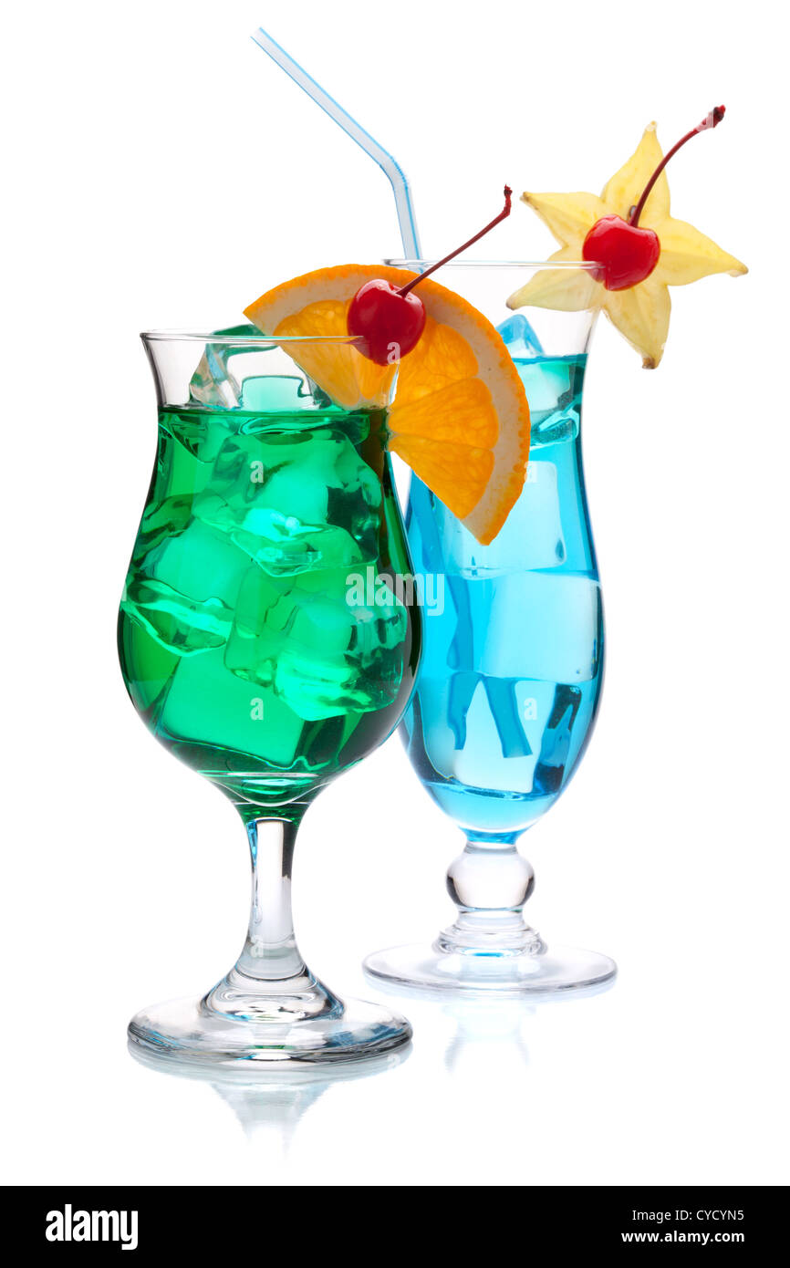Two tropical cocktails. Isolated on white background - Stock Image