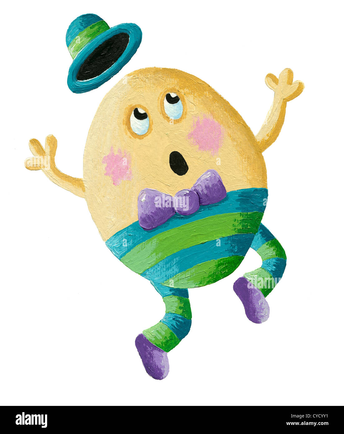 Acrylic illustration of Humpty Dumpty - Stock Image
