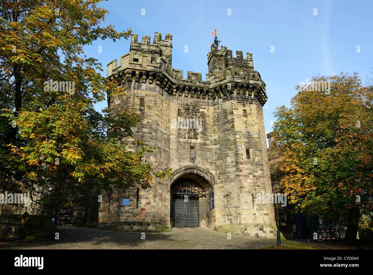 Medieval Lancaster Castle UK Front entrance - Stock Image