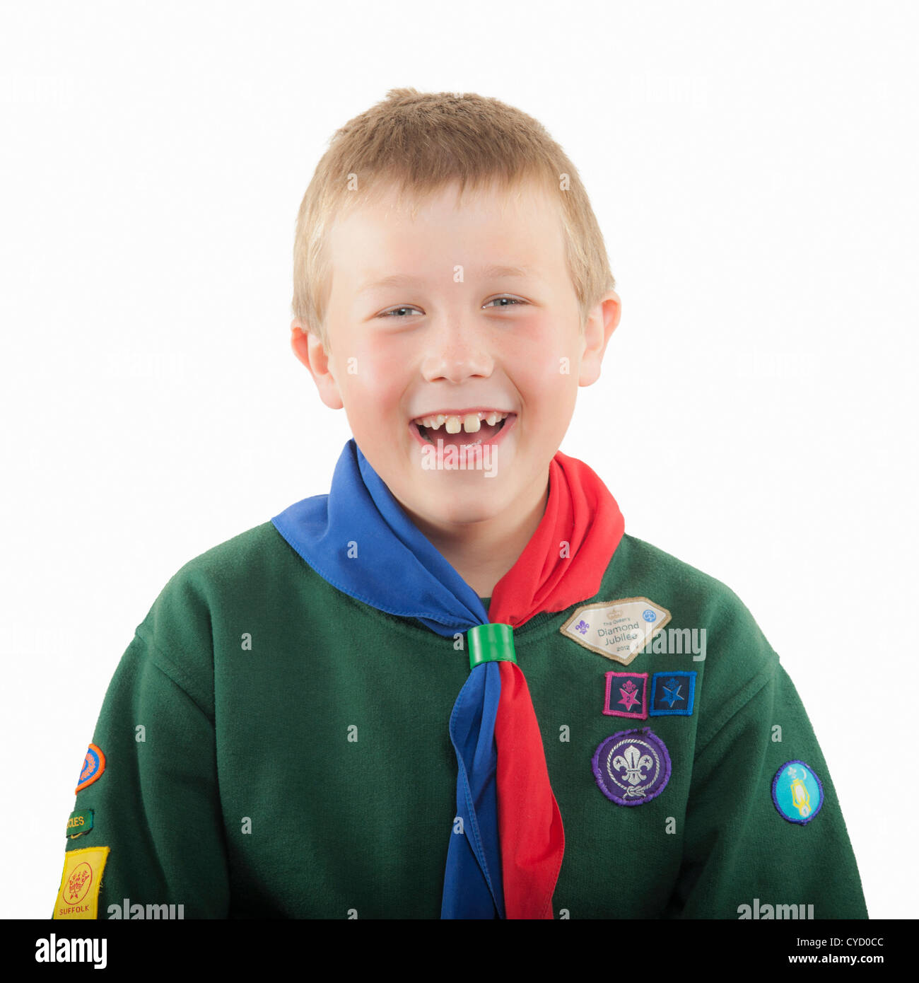 A 9 year old boy in his cub scout uniform in the Uk - Stock Image