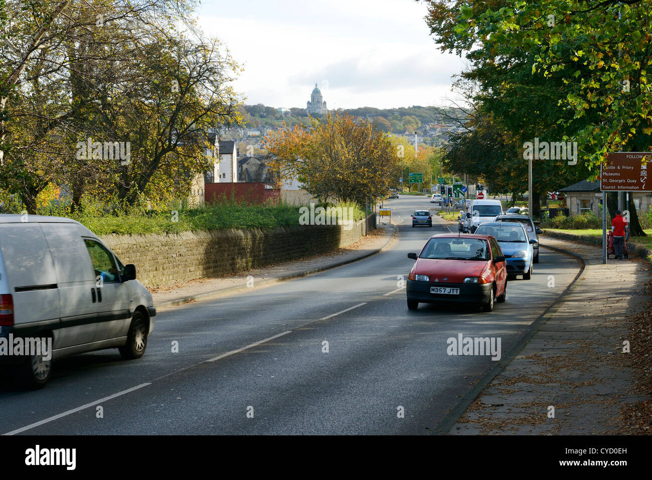 Traffic on the outskirts of Lancaster city centre UK - Stock Image