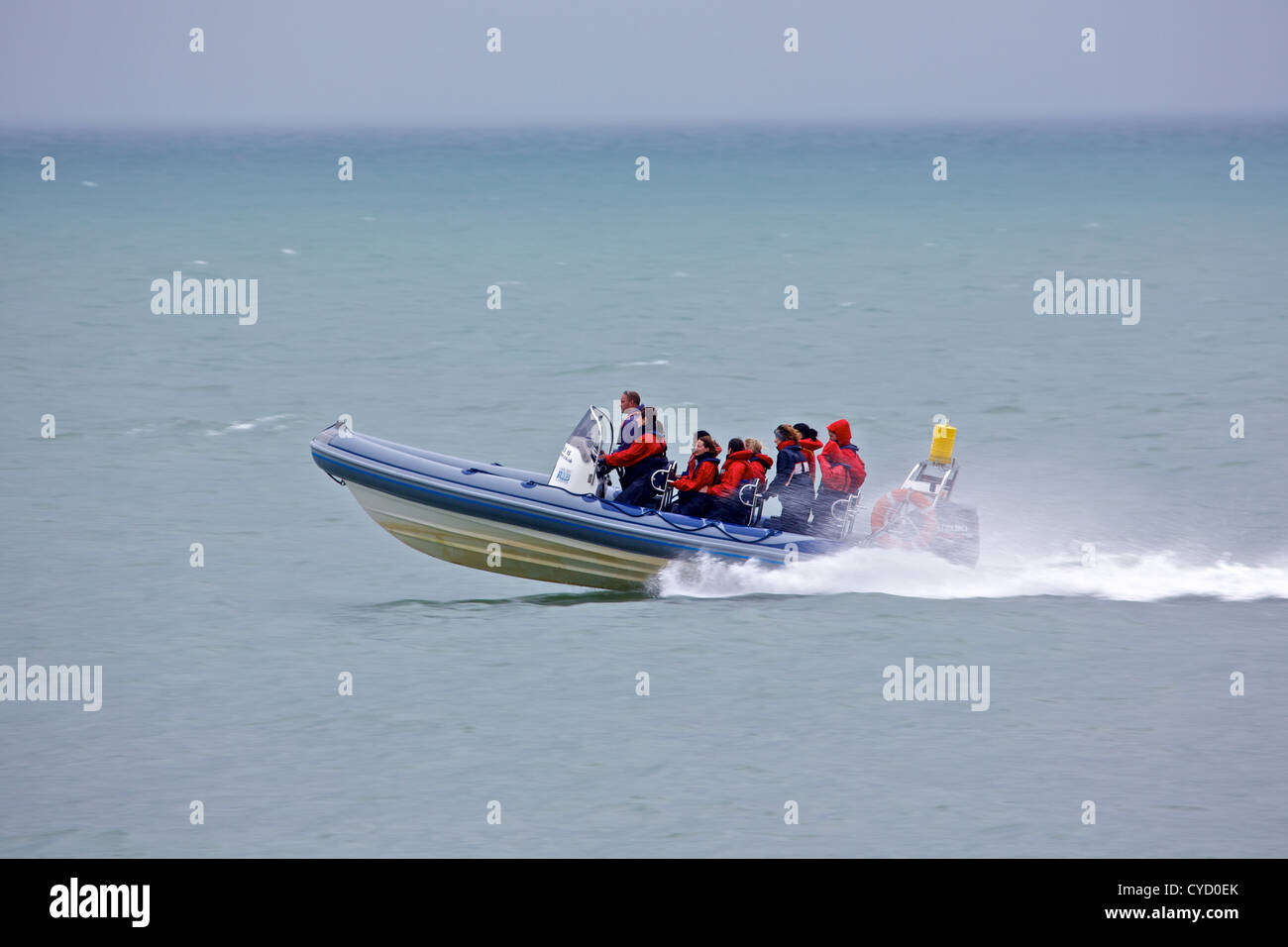 A Lyme Bay RIB Charter excursion along the Jurassic Coast at West Bay, Dorset, UK - Stock Image