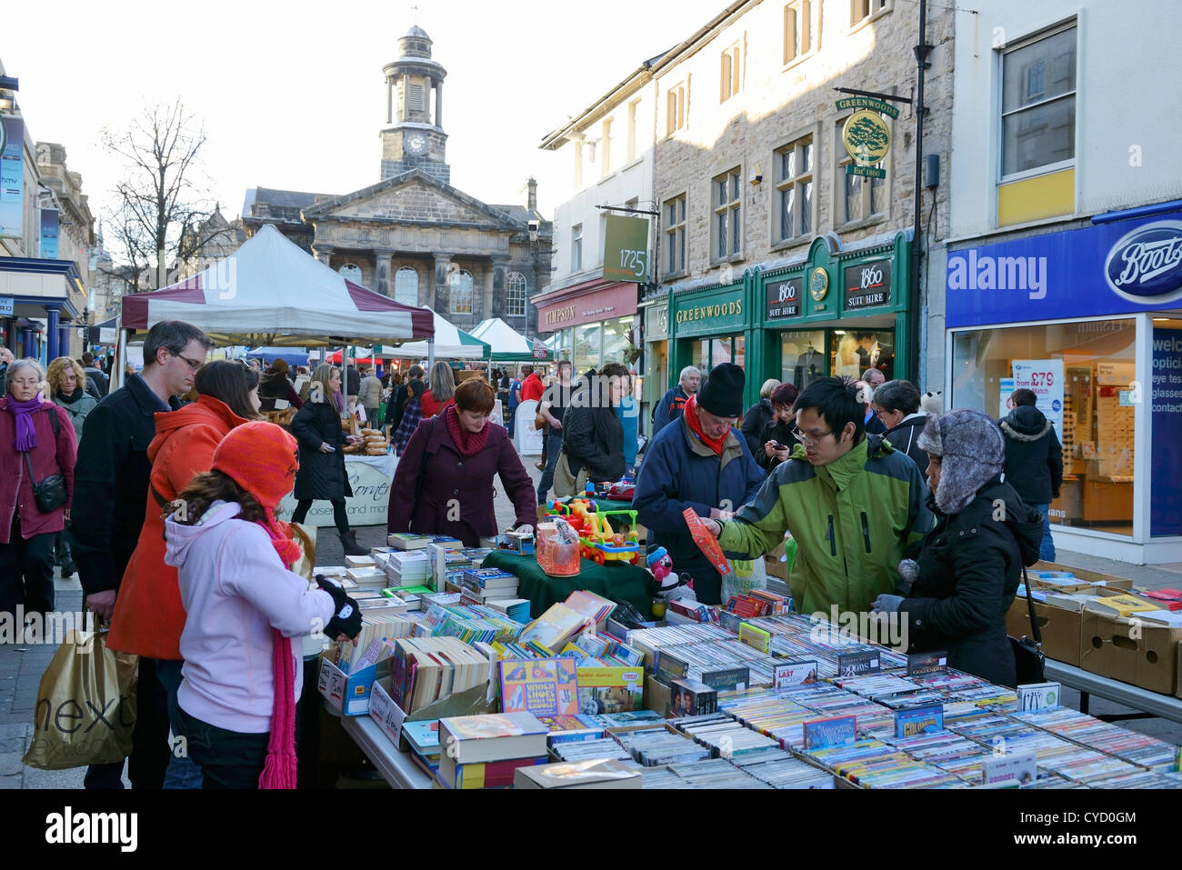 Shoppers at the saturday market in Market Street Lancaster UK - Stock Image