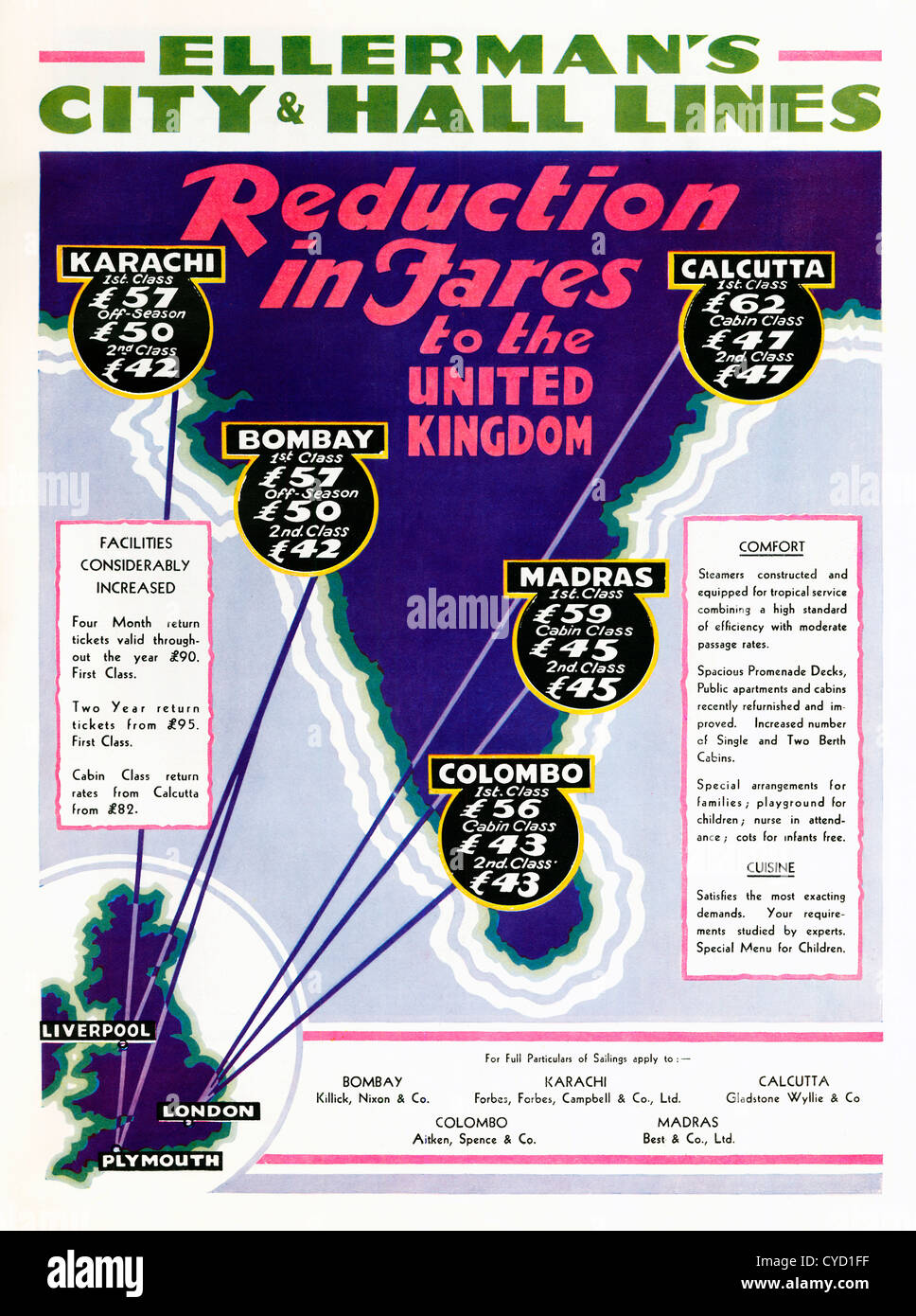Ellermans City and Hall LInes, 1932 advert for the shipping line joining up the British Empire, here with cheaper - Stock Image