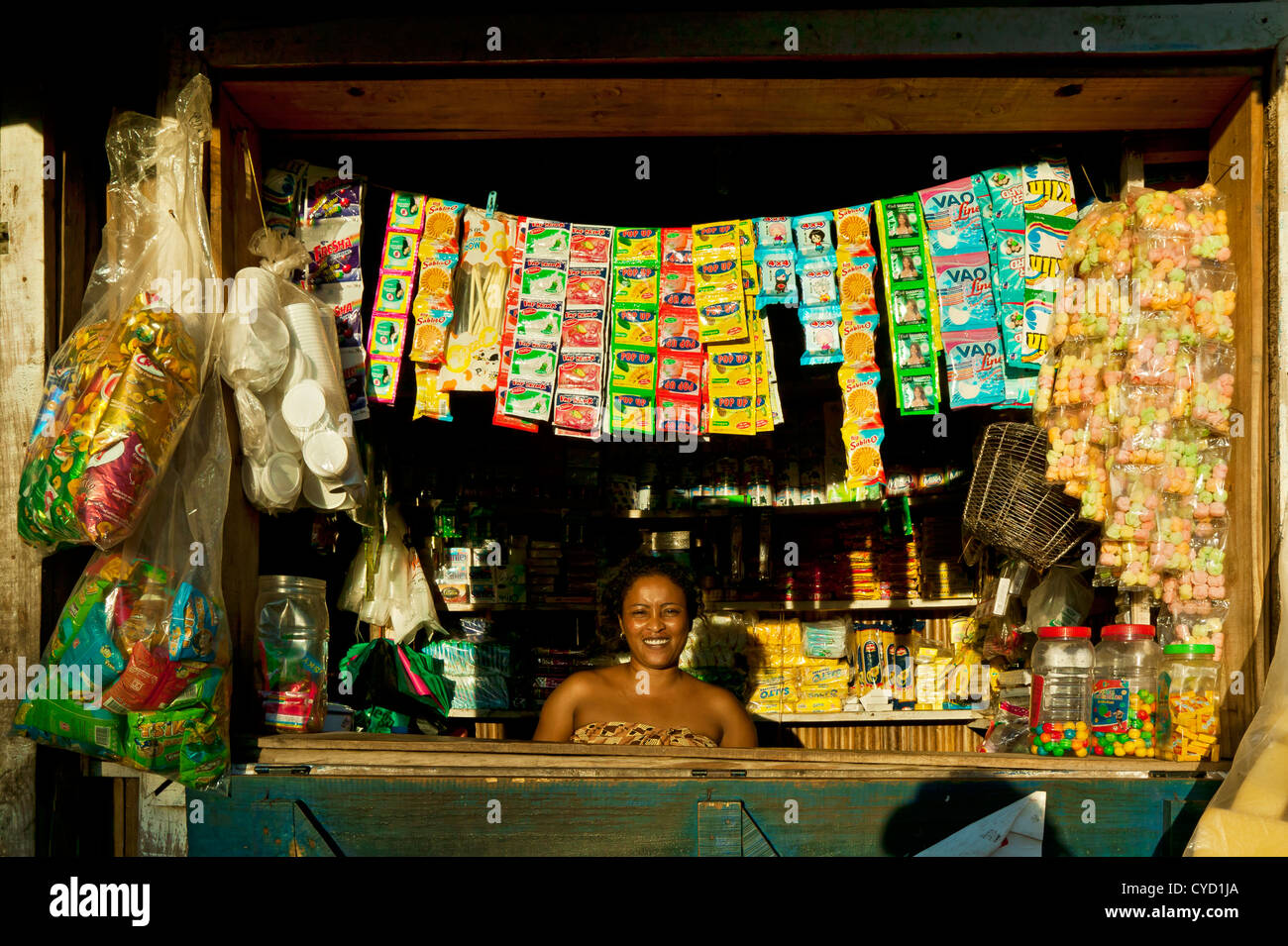 Shop at Andoany Or Hell-Ville, Nosy Be Island,Madagascar - Stock Image
