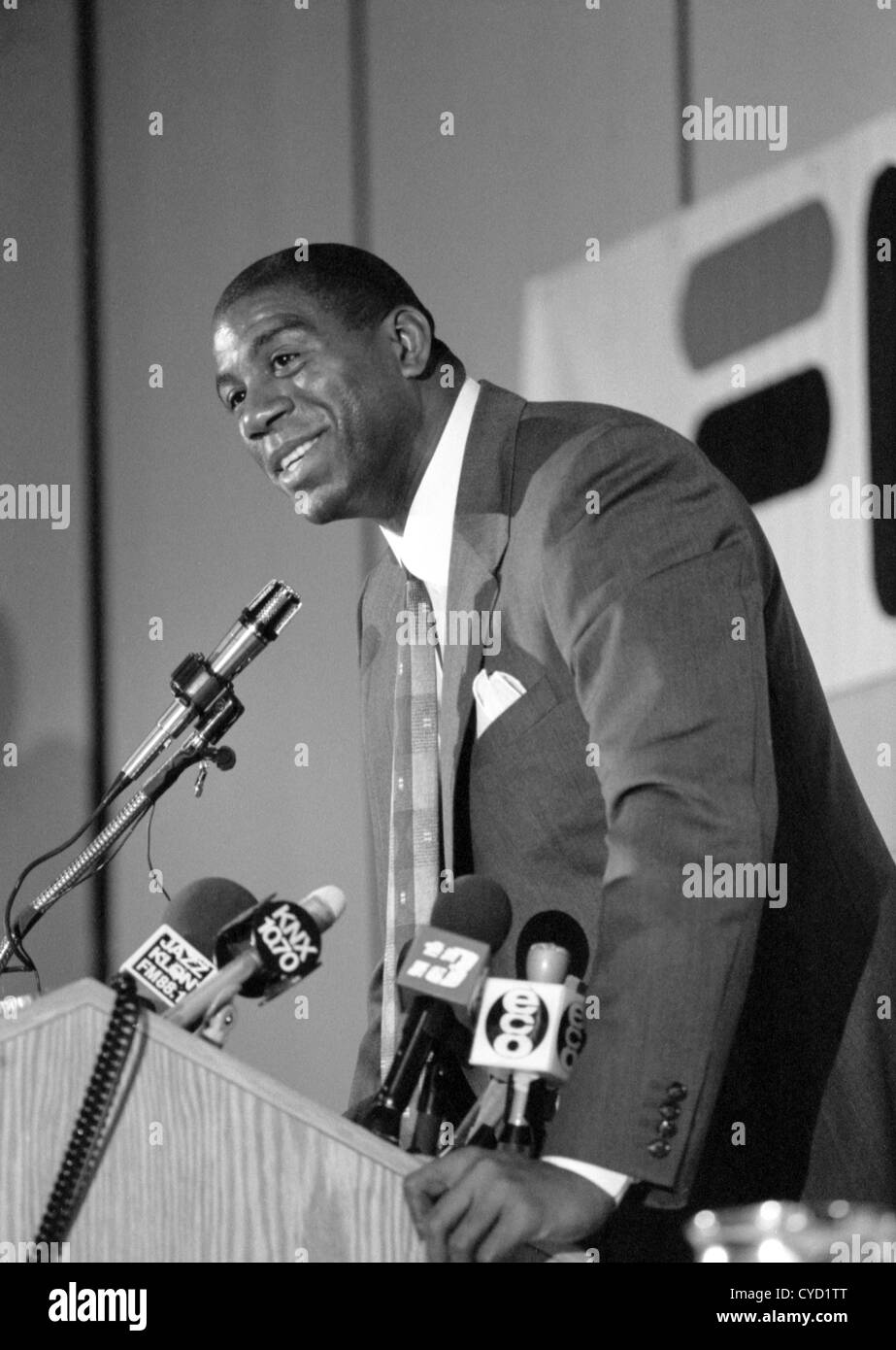 Earvin Magic Johnson gives a press conference announcing the Summer Pro League is moving to The Pyramid at Cal State - Stock Image