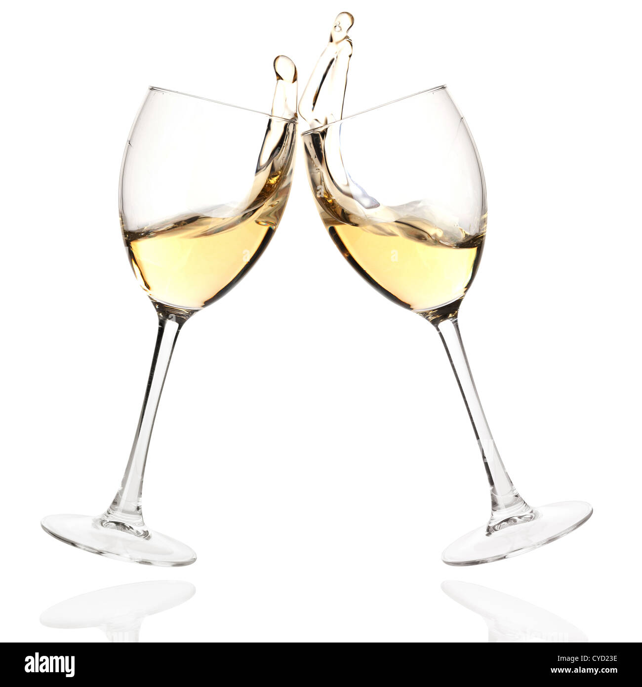 Wine collection - Cheers! Clink glasses with white wine. Isolated on white background - Stock Image