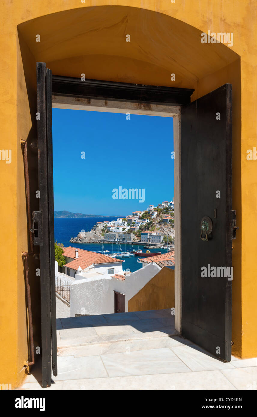 The island of Hydra, Greece, through an open door - Stock Image